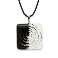 Glass pendant square black and white LENORE P1707