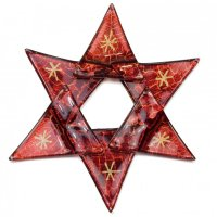 Christmas glass ornament star red antique 01 - stars