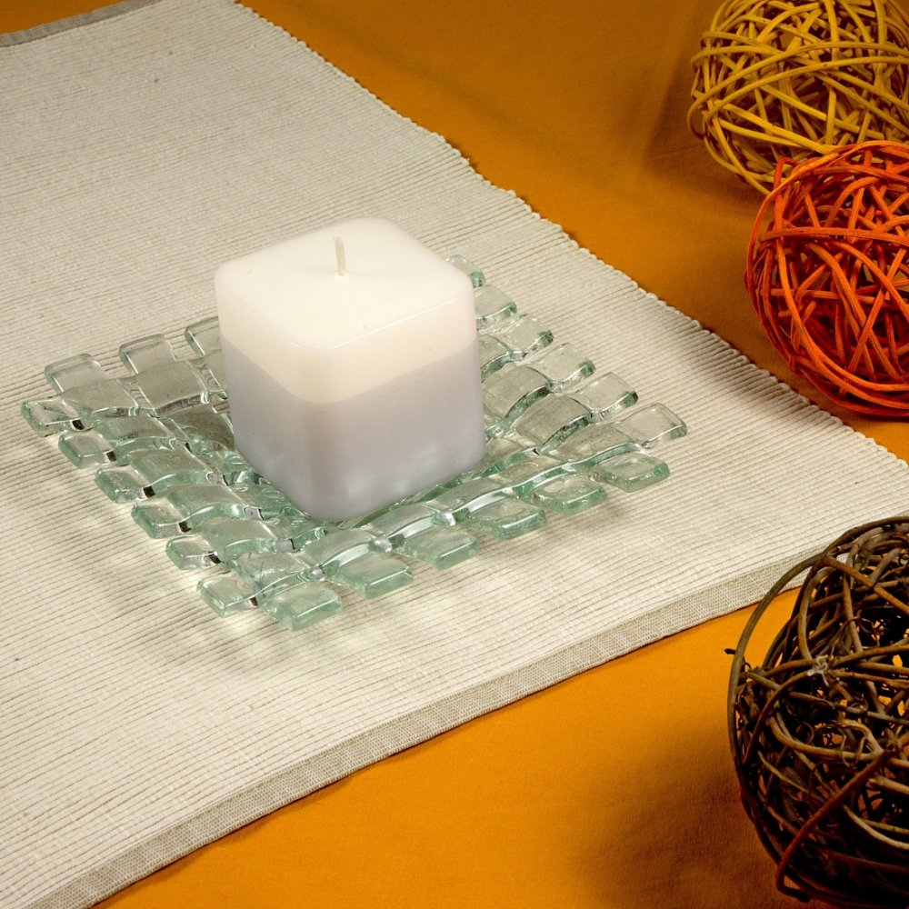 Glass clear candlestick CLARA with scented candle