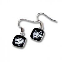 Glass earrings black KIM N0803