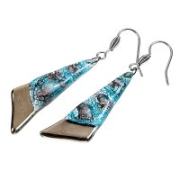 PLATINUM glass earrings turquoise brown  NP0401