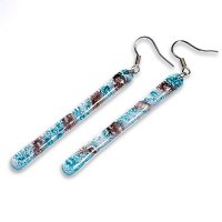 Glass earrings turquoise and brown MEMPHIS N0406