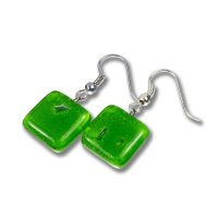 Glass earrings green DAISY N1411
