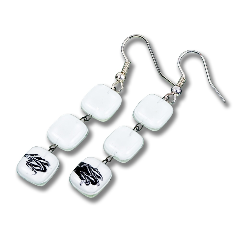 Glass earrings white LINDA N0703