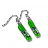 Glass earrings green DAISY SLEV_N_037