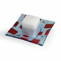 Glass red-blue candlestick EVE CITY with scented candle