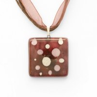Pink square glass pendant wine color with dots CHIARA P1204