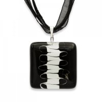 Glass pendant square black and white LENORE P1709
