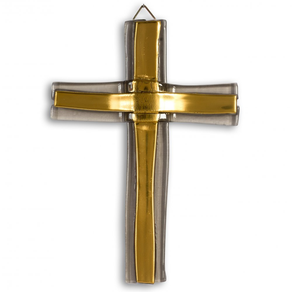 Small Gold layered glass wall cross