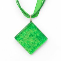 Green square diamond glass pendant DAISY P1412