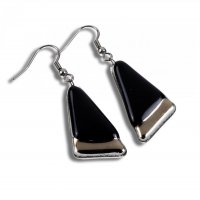 Glass earrings PLATINUM black NP0801