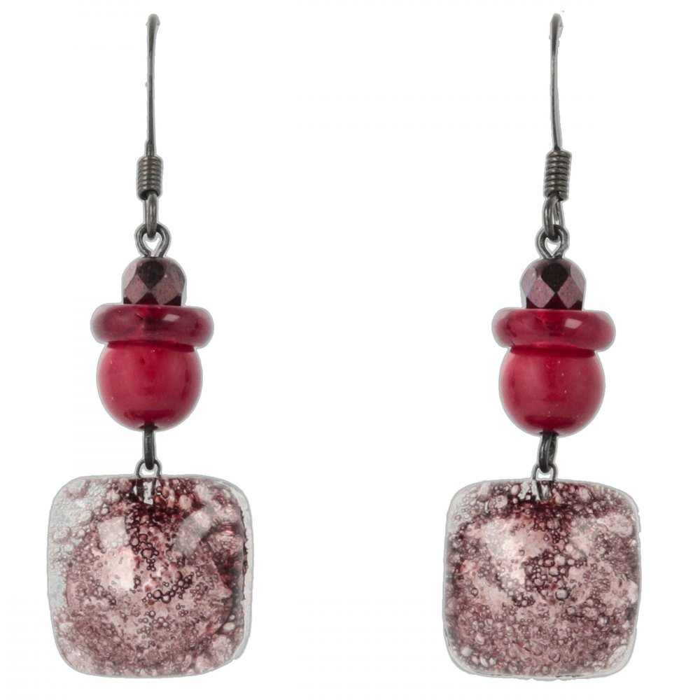 Brown glass earrings with beads NK0202