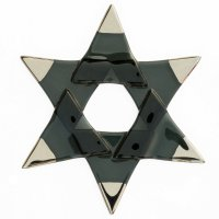 Christmas glass star black - silver spikes