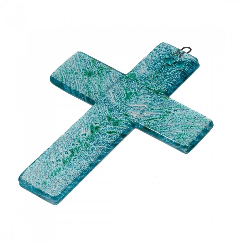 Small turquoise glass wall cross