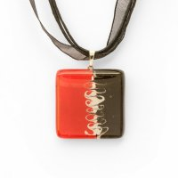 Red square glass pendant R3D P0913