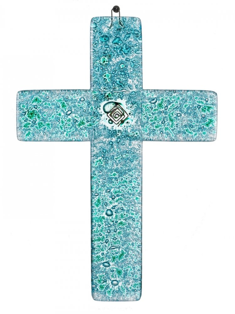 Turquoise glass wall cross – with spiral