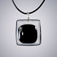 Black square glass pendant KIM P0805