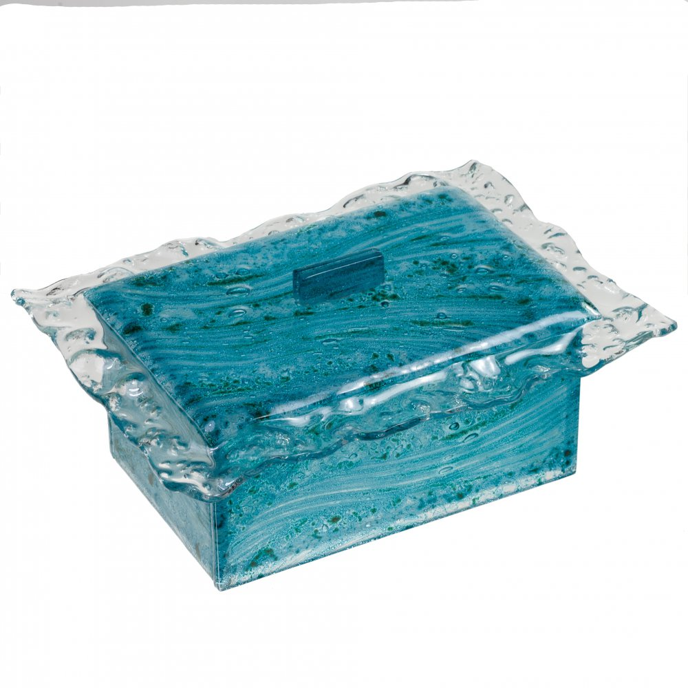 Glass jewellery boxes turquoise 01