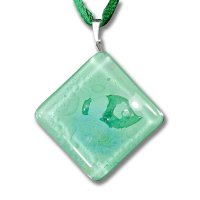 Green square diamond glass pendant P1401