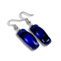 Glass earrings dark blue PARIS N0303