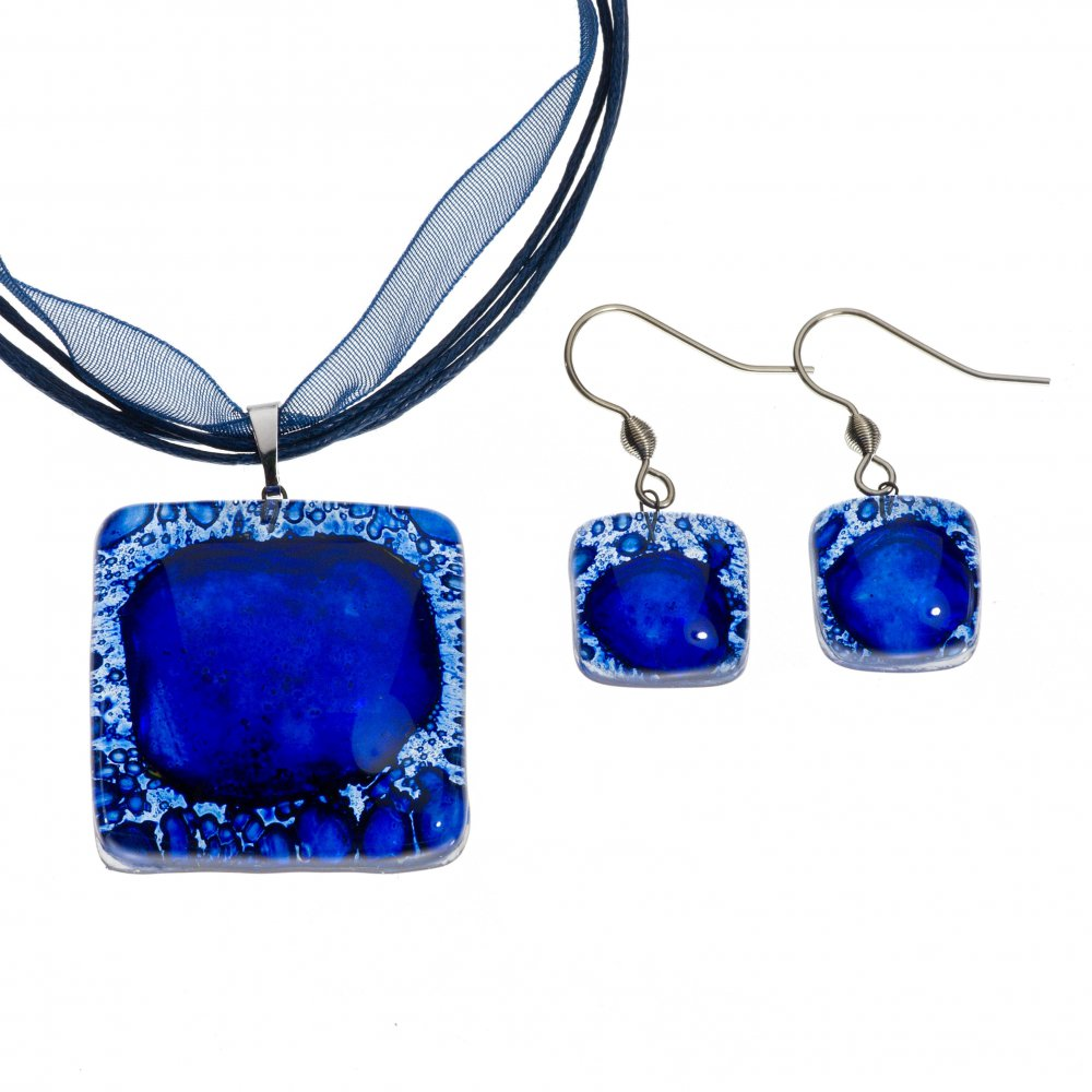 Dark blue glass jewelry set PARIS - 0301