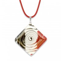Red square glass pendant SARAH P0909