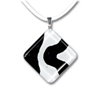 Rhombic glass pendant black and white LENORE P1701