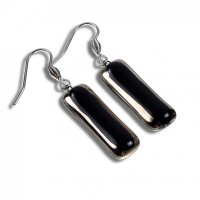 Glass earrings PLATINUM black NP0802