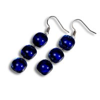 Glass earrings dark blue PARIS N0306