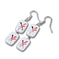 Glass earrings white CAROLINA N027