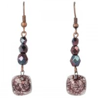 Brown glass earrings with beads NK0201