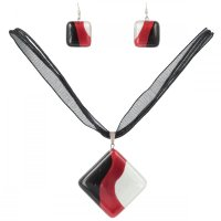Set of red glass jewelry SOU0905