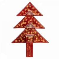 Christmas glass ornament tree red - stars