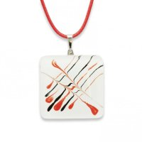 Glass pendant square white CAROLINA P0608