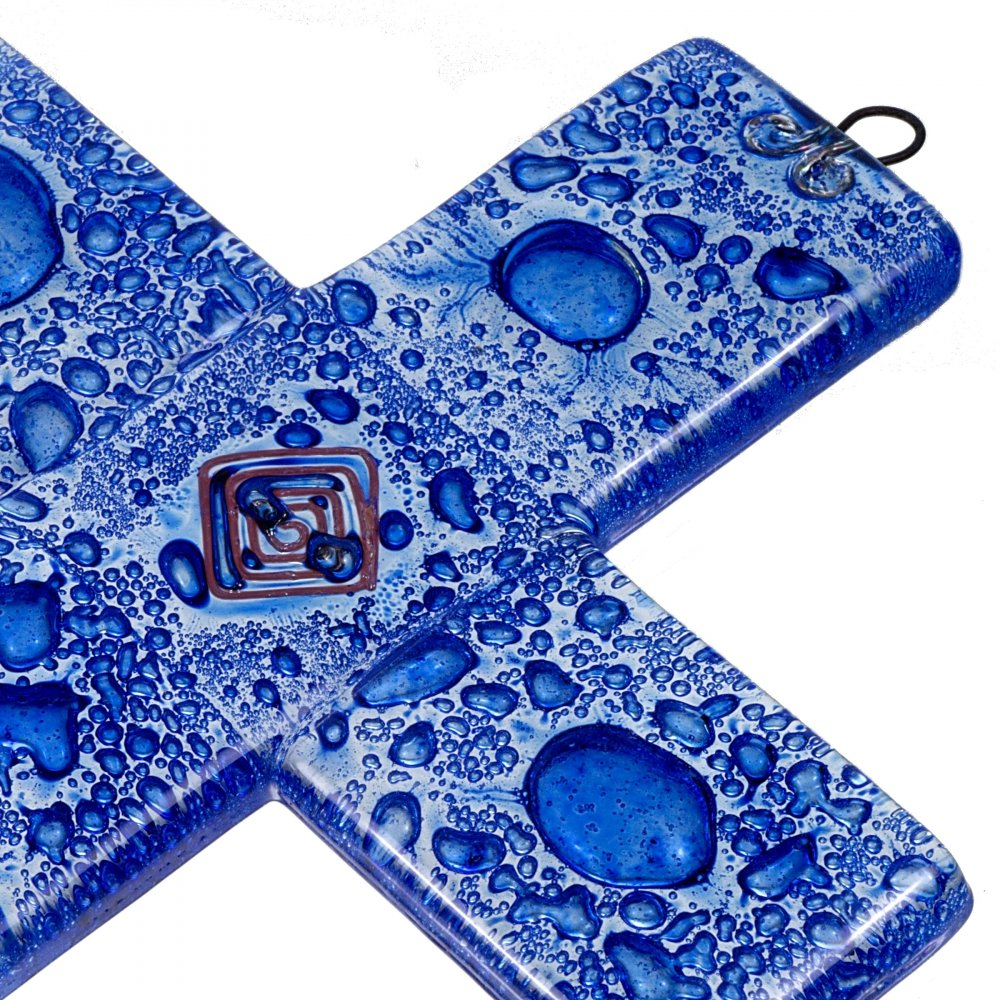 Small dark blue glass wall cross – with spiral