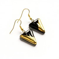 Gold-black glass earrings - triangle N5003