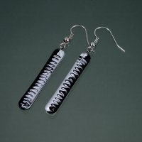 Glass earrings black and white LENORE N1702