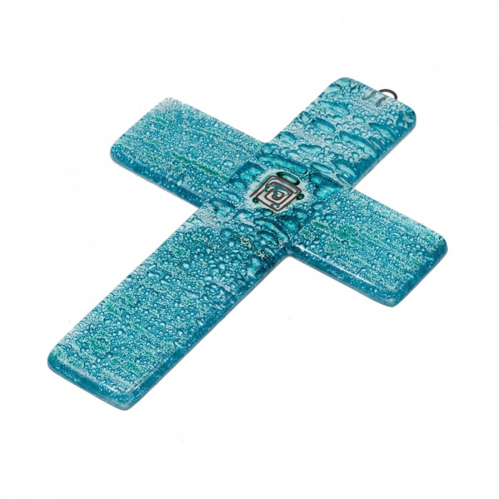 Small turquoise glass wall cross – with spiral