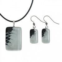 Set of black and white glass jewelry LENORE - 1703