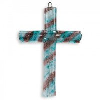 Small turquoise-brown layered glass wall cross