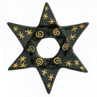 Christmas glass star black - gold line drawing