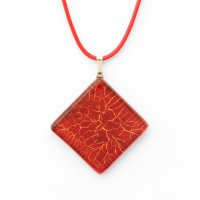 Red square glass pendant SARAH P0914