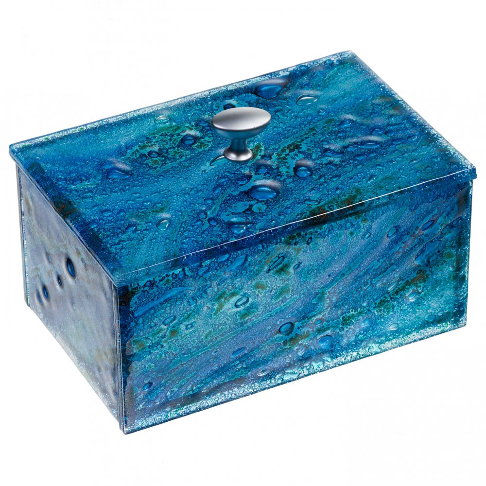 Glass jewellery boxes blue 01