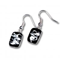 Glass earrings black KIM N0804