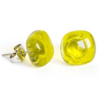 Glass earrings yellow PUZETY N1804