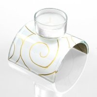 Glass candleholder for tea candle white