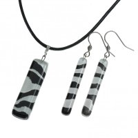 Set of black and white glass jewelry LENORE - 1702
