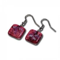 Glass earrings wine-coloured CHIARA N1202