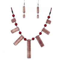 Set glass jewelry with necklace old pink SOU1201