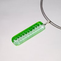 Rectangular glass pendant in green color DAISY P1411